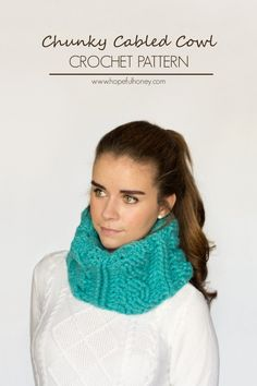 Cabled #Crochet Cowl free pattern from Hopeful Honey