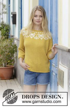 Golden Heart - Knitted sweater with round yoke, multi-colored Nordic pattern and ¾-length sleeves, worked top down. Sizes S - XXXL. The piece is worked in DROPS Merino Extra Fine. - Free pattern by DROPS Design Ladies Cardigan Knitting Patterns, Knitting Patterns Free, Knit Patterns, Free Knitting, Free Pattern, Drops Design, Nordic Pattern, Icelandic Sweaters, Nordic Sweater