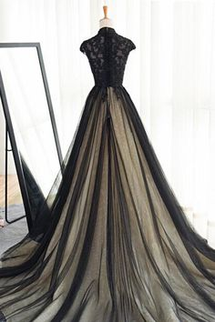 cf4e95db971 Kivary Sweetheart Black Tulle Gold Lace Corset Ball Gown Gothic Prom ...