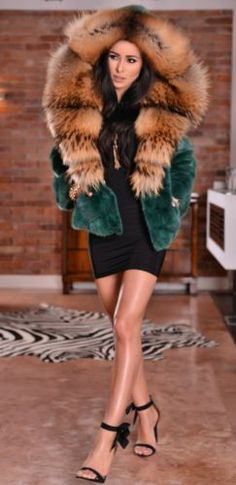 NEW GREEN MINK FUR JACKET HOOD FOX CLASS- SABLE CHINCHILLA VEST COAT TRENCH LONG
