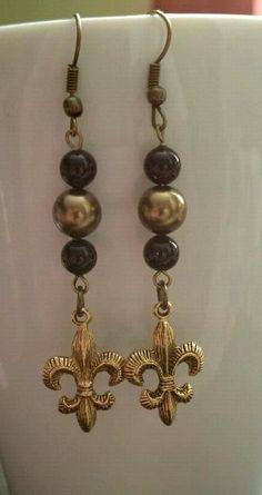 Saints Fleur de Lis earrings with Swarovski pearls - $6