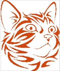 Cat head silhouette cross stitch pattern in pdf