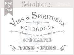 """Kommoden - Vintage Schablone """"VINS * Franske Chic - ein Designerstück von basket-and-pillow bei DaWanda"""