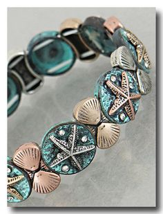 Antique Blue Shell Stacked Stretch Bracelet for Beach, Coast, Lake Parties #Stackable
