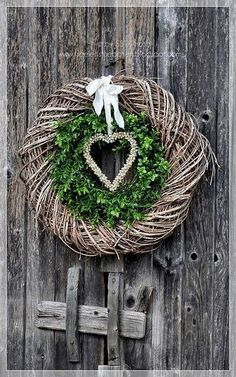 Winter February Valentine's Day Double Wreath & Heart DOOR JANK IN JANUARY IN ., Winter February Valentine's Day double wreath & heart wooden door in January for introduction :). Fall Garland, Autumn Wreaths, Holiday Wreaths, Diy Wreath, Door Wreaths, Grapevine Wreath, Christmas Crafts, Christmas Decorations, Christmas Ornaments