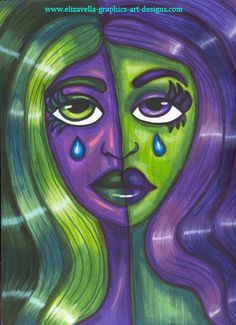 crying purple and green woman abstract art