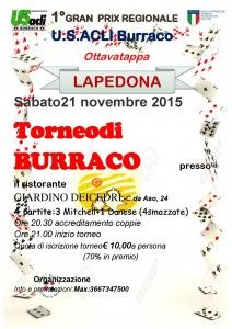 Il 21 novembre a Lapedona l8a tappa del Gran Prix regionale di burraco