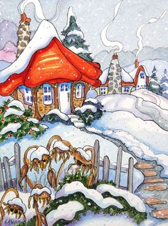 """Everyone is Staying Warm Storybook Cottage Series"" - Original Fine Art for Sale - ©Alida Akers Cute Cottage, Cottage Art, Woodlands Cottage, Storybook Cottage, Whimsical Art, Christmas Art, Watercolor Paintings, Illustration Art, Fine Art"
