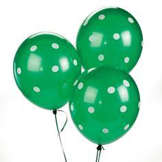 Green Polka Dot Latex Balloons - OrientalTrading.com