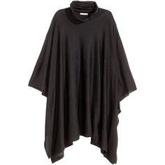 H&M Fine-knit poncho ($38) via Polyvore featuring outerwear, black, black poncho, black turtleneck poncho, black turtleneck top, turtleneck tops and turtleneck poncho