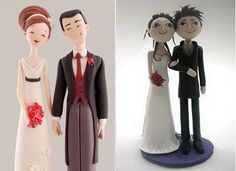 vintage-bride-and-groom-wedding-cake-topper-by-Carlos-Lischetti-left-and-funky bride and groom cake topper tutorial right by Lovely Tutorials
