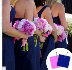 Fuschia and white flowers with navy dress (darker pink than in this pic)