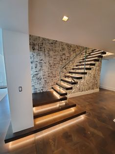 modern stair design with led, sille stairs Stairs New Design, Staircase Design Modern, Stair Railing Design, Stair Decor, House Front Design, Modern House Design, House Stairs, Facade House, House Pillars