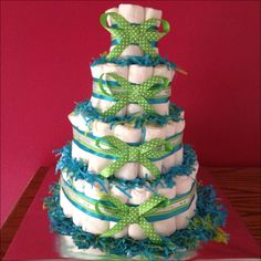 baby boy diaper cake i made for my cousin's baby shower(: