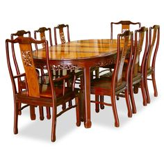 48in Rosewood Round Dining Table With 6 Chairs Bird