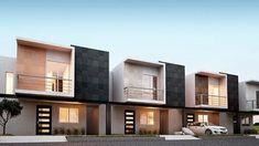 Modern home design Terrace House Exterior, Townhouse Exterior, Modern Townhouse, Facade House, Row House Design, Duplex House Design, Duplex House Plans, Modern House Facades, Modern Architecture House