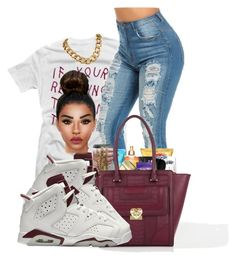 """maroon"" by ballislife ❤ liked on Polyvore featuring Love Moschino and NIKE"
