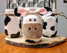 Cow Mason Jars, Farm themed party decor, cow print centerpieces, mason jar cow v. Farm Animal Birthday, Cowgirl Birthday, Farm Birthday, Cow Print Birthday, Birthday Tutu, Farm Themed Party, Barnyard Party, Fete Audrey, Anniversaire Cow-boy