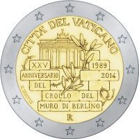 2 Euro 2014 25 Years since the Fall of Berlin Wall Vatican Ciry Fall Of Berlin Wall, Piece Euro, Euro Coins, Forex Trading Signals, Commemorative Coins, World Coins, Money Matters, Coin Collecting, Badges