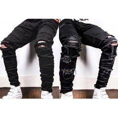 Men Fashion Ripped Destroyed Denim Jeans Style Swag Streetwear Urban Trend