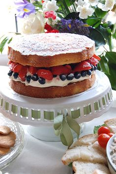 Victoria sponge, filled with red, white and blue, for a British summer buffet!