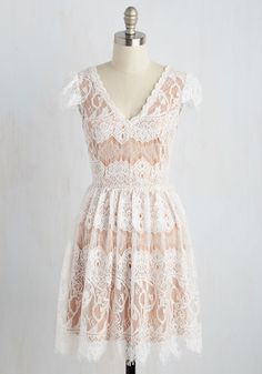Purely and Symphony Dress - Tan, White, Solid, Daytime Party, A-line, Short Sleeves, Spring, Knit, Lace, Better, Mid-length