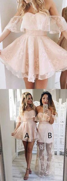 Off the shoulder homecoming dresses, light pink homecoming dresses,short lace homecoming dresses,short lace bridesmaid dresses, short party dresses for party,blush homecoming dresses,a line party dress,short prom dress,cute homecoming dresses short