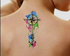 tattoos designs for couples Temporary Tattoo Watercolor Compass Nautical Ultra Thin Realistic Waterproof Fake Tattoos Tattoo Aquarelle, Watercolor Compass Tattoo, Watercolor Tattoo Sleeve, Aquarell Tattoos, Small Watercolor Tattoo, Compass Tattoo Design, Nautical Compass Tattoo, Temporary Tattoos, Small Tattoos