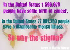 people have some form of cancer. people have a diagnosable mental illness. So why the stigma? Mental Health Stigma, Mental Health Care, Mental Health Disorders, Mental Health Matters, Mental Health Awareness, Mental Illness, Counseling Psychology, Bipolar Disorder, Coping Skills