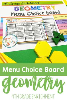 This enrichment menu project is an amazing differentiation tool that not only empowers students through choice but also meets their individual needs. 4th grade students can demonstrate their geometry skills while addressing common core math standards by completing tasks such as classifying 2-D figures, drawing points, lines and segments, and recognizing lines of symmetry. #4thgrademath #iteach4th #commoncoremath