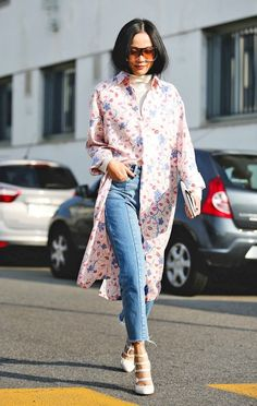 Le Fashion Blog Street Style Mfw Oversize Sunglasses Pink Shirtdress Turtleneck Jeans Strappy White Pumps Via Refinery29