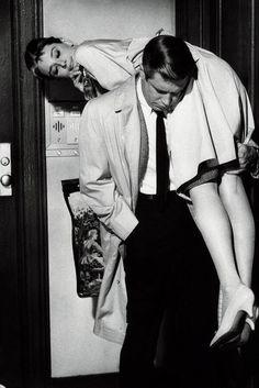 """Audrey Hepburn George Peppard in Breakfast at Tiffany's 1961. """