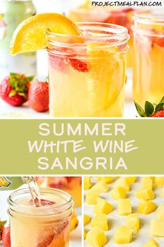 This Summer White Wine Sangria is full of strawberries and oranges, sweetened with pineapple juice, and spiked with vodka for extra summer fun. Make-ahead with riesling or moscato, top with ginger ale and sip during your next gathering! White Wine Sangria, Wine Cocktails, Fun Drinks, Cocktail Recipes, Alcoholic Drinks, Peach Sangria Moscato, Beverages, Fun Summer Drinks Alcohol, Best White Sangria Recipe