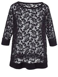 Angel of Style, Spitzen-Sweatshirt, schwarz