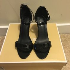 SALLLE Candie's Open Toe Heels Barely worn, black patten leather open toe Candie's heels. A classic addition to any wardrobe! Candie's Shoes Heels