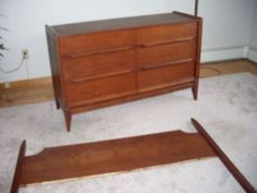 mid century modern walnut dresser and bedframe Walnut Dresser, Bed Frame, Mid-century Modern, Mid Century, Cabinet, Storage, Stuff To Buy, Furniture, Home Decor