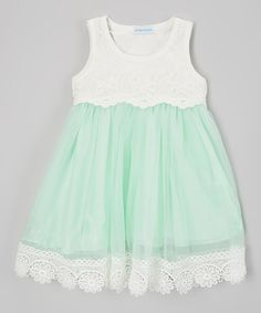 Loving this Mint Lace Sleeveless Dress - Infant, Toddler & Girls on #zulily! #zulilyfinds