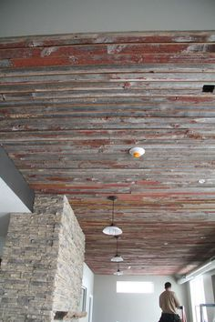 Barnwood up! | Our ceilings in the Prairie Pointe clubhouse are covered with rustic wooden blanks from an old Iowa barn.