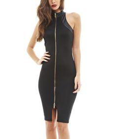 Black Zipper Sleeveless Bodycon Dress
