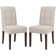 Another choice.@Overstock - Add a little chic to any room with these contemporary side chairs. This furniture set features a sturdy hardwood frame with a tufted button, beige linen upholstery.http://www.overstock.com/Home-Garden/Metro-Tufted-Beige-Linen-Side-Chairs-Set-of-2/5721330/product.html?CID=214117 $285.99