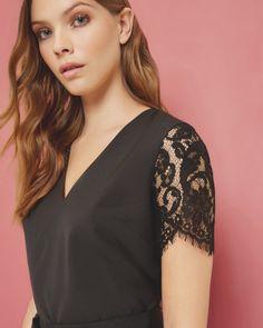 Lace V-neck top - Black | Tops & T-shirts | Ted Baker UK