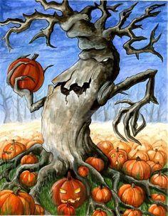 Halloween Trees, Halloween Art, Holidays Halloween, Pumpkin Tree, Rooster, Moose Art, Deviantart, Artist, Fun