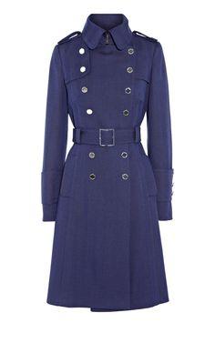 Karen Millen Herringbone Blue Wool Coat