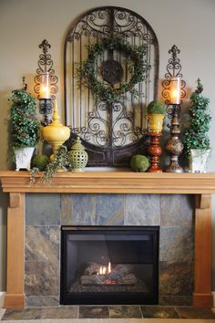 Reminds me of our fireplace minus the wood. Cute decorations