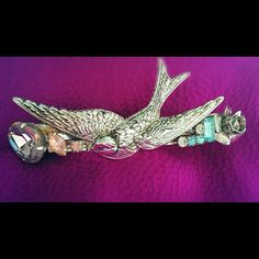 Kirks Folly 80's vintage Barrette Beautiful bird design with fashion gems and rhinestones, made in France, some rust in back, good condition. Kirks Folly Accessories Hair Accessories