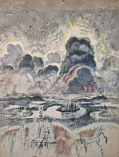 Heat Lightning   -    Charles Burchfield ,c. 1962   American, 1893–1967  Watercolor, charcoal, and white chalk on joined paper, mounted on board , 58 x 45 in      147.3 x 114.3 cm