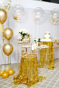 30 The Best New Years Party Decorations For Your Beautiful Moment - New Year marks the end of the previous year and the onset of the coming year. This day is celebrated all over the world with pomp and splendor. In gen. 70th Birthday Parties, Anniversary Parties, Birthday Bash, 60th Birthday Party Decorations, House Party Decorations, Graduation Party Decor, Deco Baby Shower, Golden Birthday, In Vino Veritas