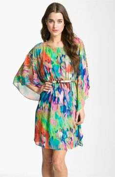 love the artsy watercolor style print of this dress - Eliza J Print Batwing Sleeve Chiffon Dress | Nordstrom