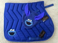Cookie Monster saddle pad and fly veil by CornishEquestrian