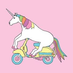 #ridecolorfully I am off to visit Unicornland to see Unicorn riding a Vespa 8x8 by linedraw on Etsy, $15.00